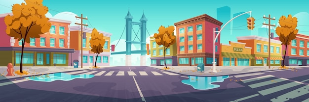 Incrocio della città nel tempo di autunno