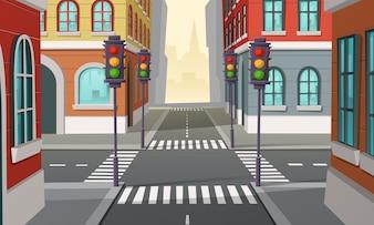 Incrocio di città con semafori, incrocio. Illustrazione del fumetto della strada urbana