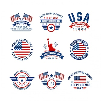 Independence day 4 luglio usa badge collection