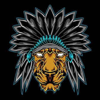 Indian lion chief logo illustrazione