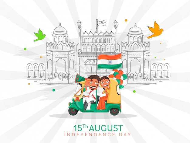 Indian man driving auto con woman doing namaste, indian flag, balloons and line art red fort monument on white rays background celebration.