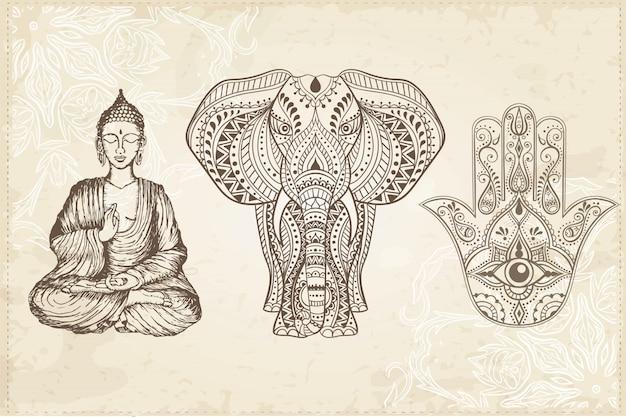 Indiano disegnato a mano hamsa con occhio che vede tutto