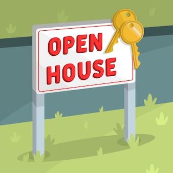 Indicatore di casa aperta con chiavi