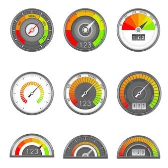 Indicatore di credito. scala di livello dell'indicatore di punteggio del tachimetro, quadrante della velocità dell'indicatore, grafico del manometro di valutazione della misura minimo alto, piatto vettoriale