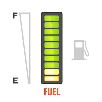 Indicatore di livello carburante nel serbatoio dell'icona dell'automobile.