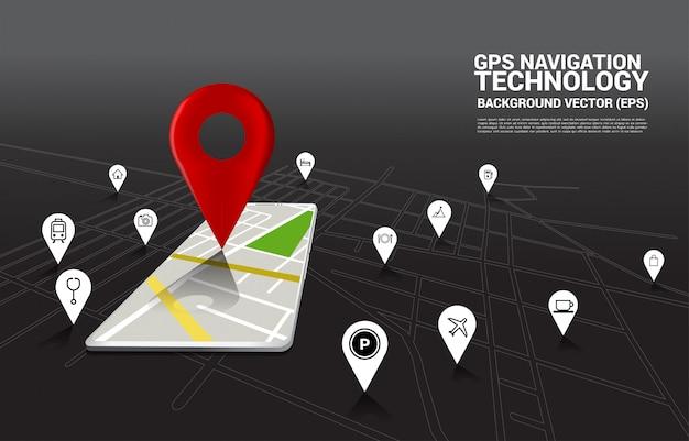 Indicatore di pin 3d gps e mappa nell'applicazione del telefono cellulare. concetto di posizione e struttura, tecnologia gps