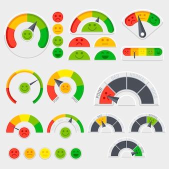 Indicatore di vettore di soddisfazione del cliente con icone di emozioni. valutazione emotiva del cliente. indicatore buono e scarso, illustrazione del punteggio del livello di credito