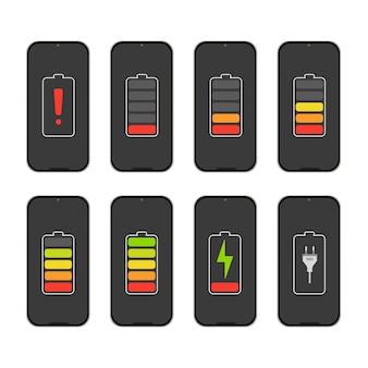 Indicatori del livello di carica della batteria sul telefono.