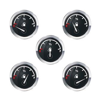 Indicatori di carburante moderni isolati su bianco