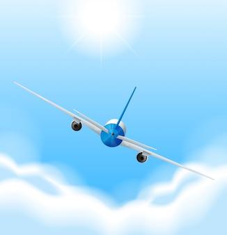 Indietro dell'aeroplano che vola nel cielo