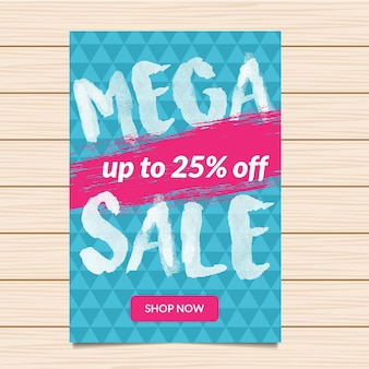 Indigo mega vendita illustrazione banner e flyer
