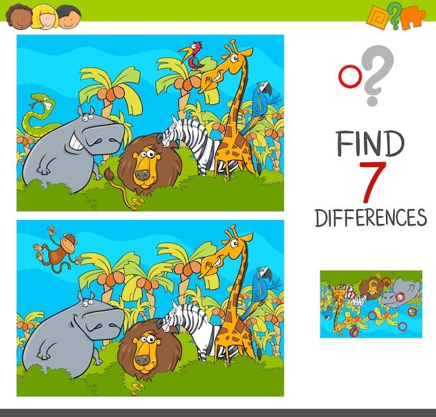 Individuare il gioco delle differenze con gli animali safari