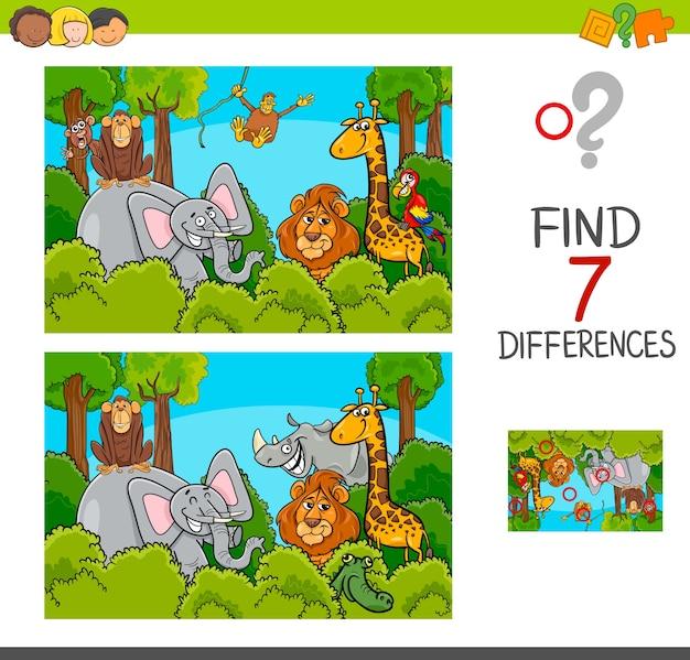 Individuare il gioco delle differenze con gli animali selvatici