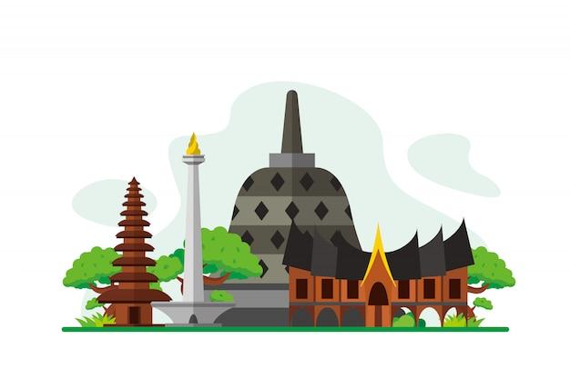 Indonesia famosi punti di riferimento sullo sfondo