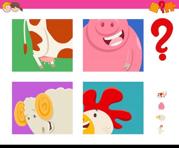 Indovina il gioco degli animali da fattoria dei cartoni animati per bambini
