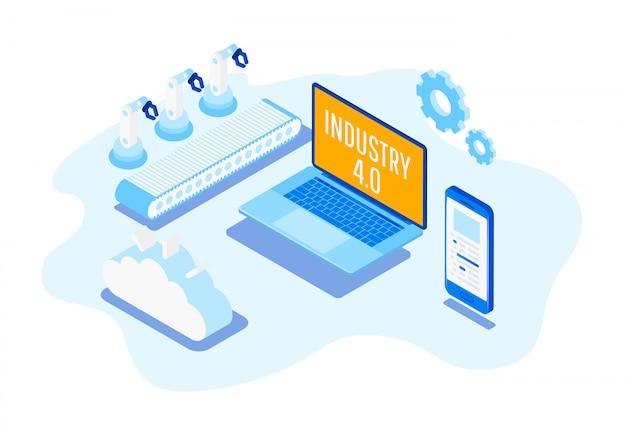 Industria di automazione isometrica industria 4.0