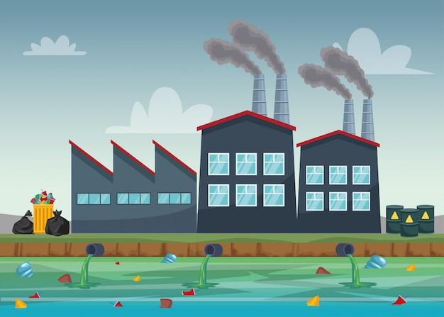 Industria di fabbrica che inquina la scena dell'acqua