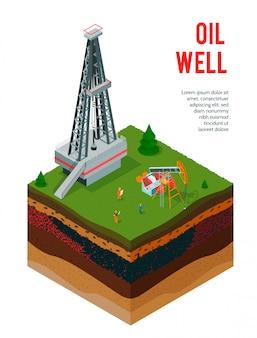 Industria petrolifera isometrica con testo modificabile e vista degli strati del terreno con costruzioni a torre di petrolio