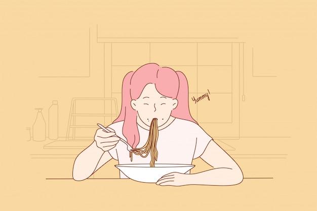 Infanzia, cucina, cibo, concetto di pasta