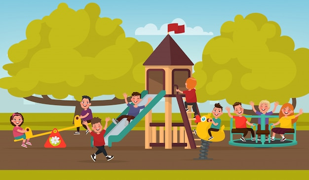 Infanzia felice. i bambini nel parco giochi oscillano su un'altalena e cavalcano sulla giostra. illustrazione