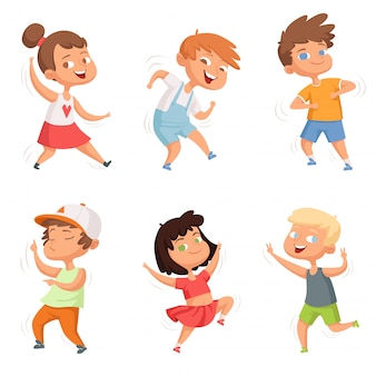 Infanzia felice, vari bambini danzanti divertenti