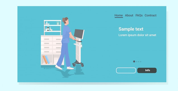 Infermiera che utilizza la pagina di destinazione dell'attrezzatura medica