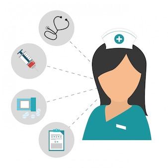 Infermiera con immagine icona prodotti diagnostici