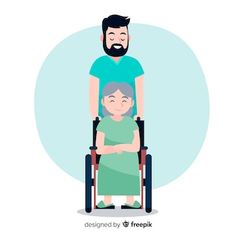 Infermiera disegnata a mano che aiuta priorità bassa paziente