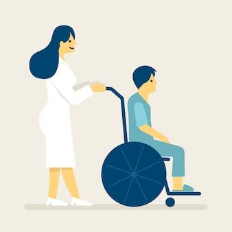Infermiera e un paziente sull'illustrazione della sedia a rotelle.