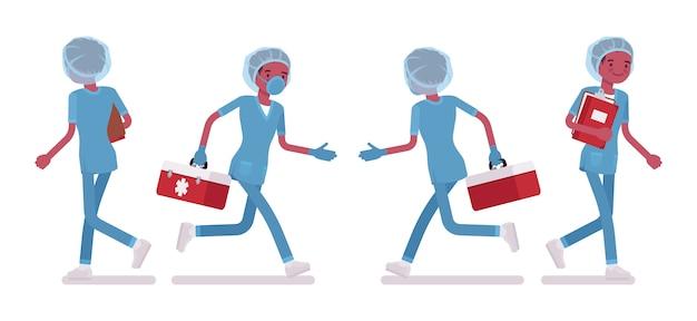 Infermiere che cammina. giovane in uniforme ospedaliera impiegato in clinica, impegnato al lavoro. concetto di medicina e assistenza sanitaria. stile cartoon illustrazione su sfondo bianco, anteriore, posteriore