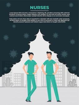 Infermiere maschio e femmina aiutare il mondo a vincere la lotta contro il coronavirus