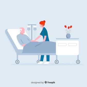 Infermiere piatto con paziente