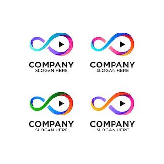 Infinito e pulsante play logo design