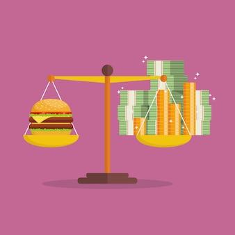 Inflazione monetaria e saldo di burger sulla scala