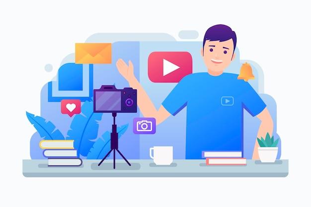 Influencer che registra un nuovo concetto video