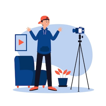 Influencer che registra un nuovo concetto video