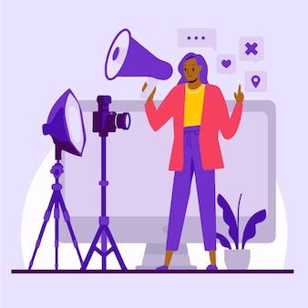 Influencer che registra un nuovo video