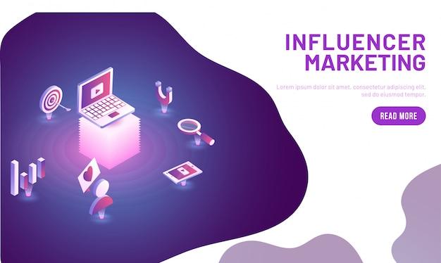 Influencer concetto di marketing.