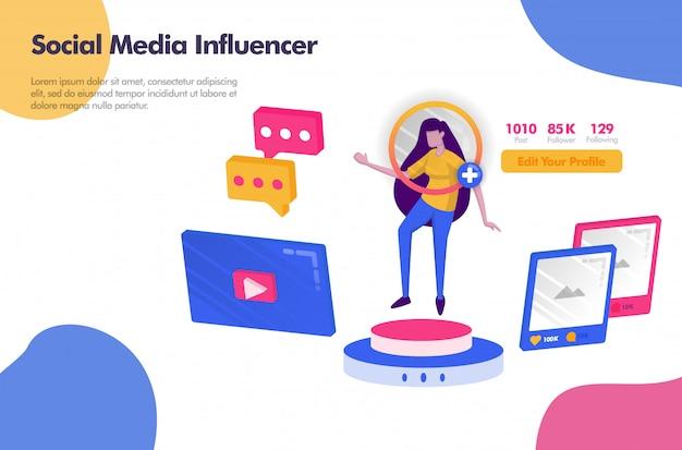 Influencer dei social media con follower e banner icona