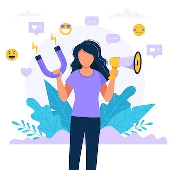 Influencer dei social media. illustrazione con il megafono e il magnete della tenuta della donna.