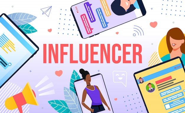 Influencer illustrazione di marketing