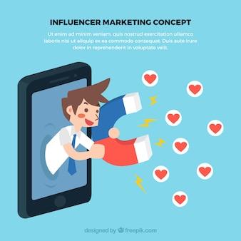 Influenza del concetto di marketing con l'uomo che raccoglie l'amore