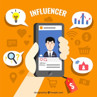 Influenza del marketing design con la mano azienda smartphone