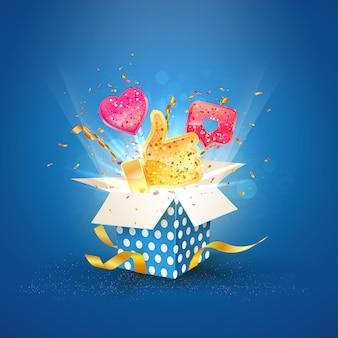 Influenza sui social media. scatola blu con l'illustrazione simile di vettore delle icone 3d di vettore.