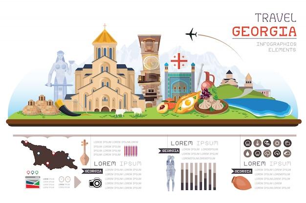 Info grafica viaggio e punto di riferimento georgia modello di progettazione. illustrazione di concetto.