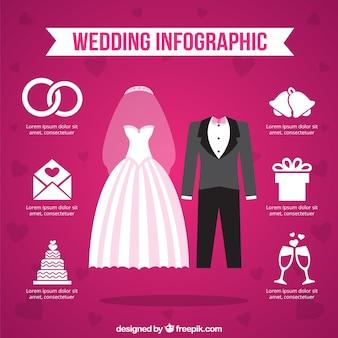 Infografia matrimonio su sfondo rosa