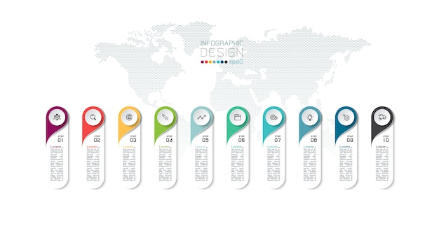 Infografica 10 passaggi dal design moderno.