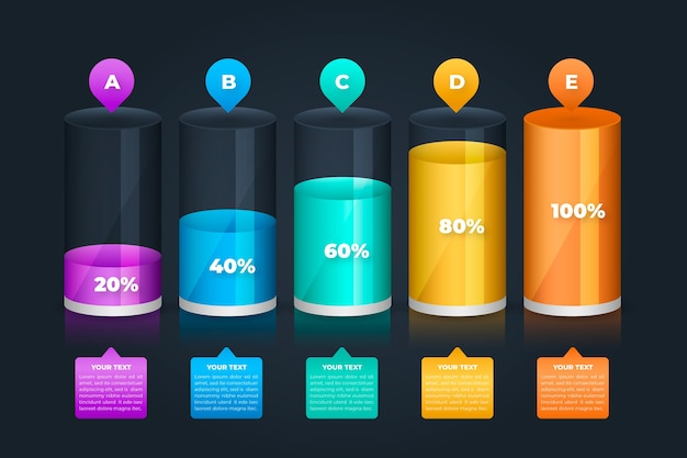 Infografica 3d barre colorate