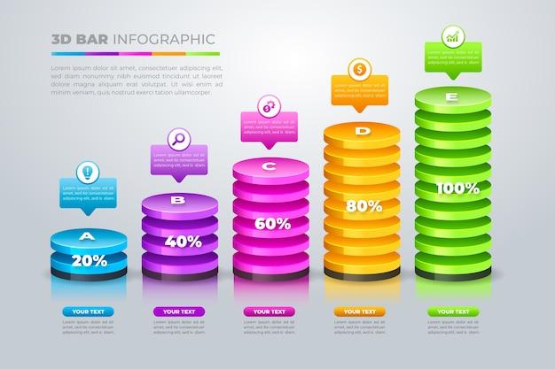 Infografica 3d barre colorate