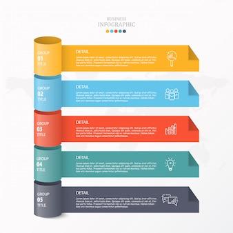 Infografica 3d per grafico aziendale e di processo.